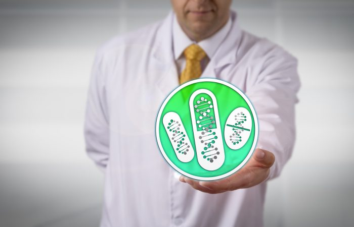 Unrecognizable clinician offering drugs based on DNA profiling. Healthcare and pharma industry concept for predictive prescribing, evaluating optimal dosing, pharmacogenomics, pharmacogenetics.